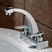 洗手間雙把雙孔三孔面盆水龍頭冷熱水老式臉盆旋轉純銅冷暖水籠頭TA6053【極致男人】