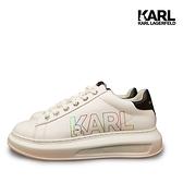 全球台灣獨家【KARL LAGERFELD】運動鞋 休閒鞋 KAPRI 彩虹KARL綁帶運動鞋-白