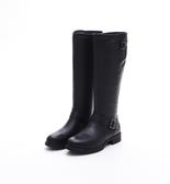 MICHELLE PARK 秋冬騎士靴高筒靴粗跟圓頭牛皮復古休閒時尚長筒靴-黑色