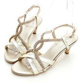 kadia-雙V貼鑽涼鞋-金