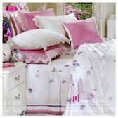 御芙專櫃『蝴蝶˙真愛』粉*╮☆四件式專櫃高級精梳棉˙ 加大【兩用被+薄床包】6*6.2尺