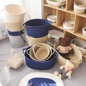 簡約環保棉線髒衣簍衣物雜物收納筐 ins北歐髒衣籃玩具日式洗衣籃   igo