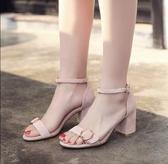 M-高跟鞋女粗跟涼鞋2018春季新款韓版百搭一字扣淺口女士羅馬女鞋子