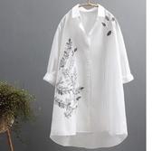襯衣 新款休閒文藝范寬鬆中長款褶皺刺繡純棉襯衫女裝秋季打底衫白襯衣 琪朵市集