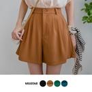 現貨-MIUSTAR 後鬆緊腰同色釦壓摺雪紡短褲(共4色,S-L)【NJ1849】