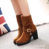 秋冬保暖中筒靴女靴英倫風高跟粗跟厚底馬丁靴裸靴磨砂短靴女 可可鞋櫃