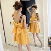 露背性感蝴蝶結中長款無袖洋裝女顯瘦吊帶a字裙子 韓語空間