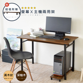 【Hopma】簡易工作桌/書桌(附螢幕主機架)-深柚木