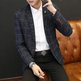 韓版西服外套單件上衣時尚厚款小西裝修身潮流帥氣青年休閒西裝男 露露日記
