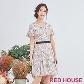 Red House 蕾赫斯-描花心型領洋裝(共2色)