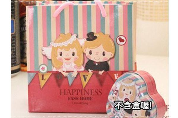 *幸福朵朵*愛心新郎新娘圖案禮物袋(包裝袋.手提袋.可裝禮品)- 送客禮物包裝袋/婚禮小物
