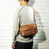 復古PU皮側背包潮流斜背包旅行便攜男小包胸包男包 黛尼時尚精品