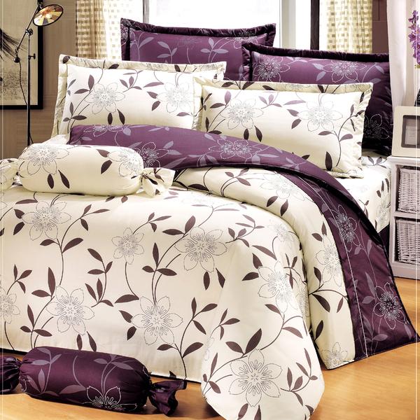台灣製-花香樂譜 雙人加大(6x6.2呎)四件式薄被套床包組-米色[艾莉絲-貝倫]T4H-KF2539-B