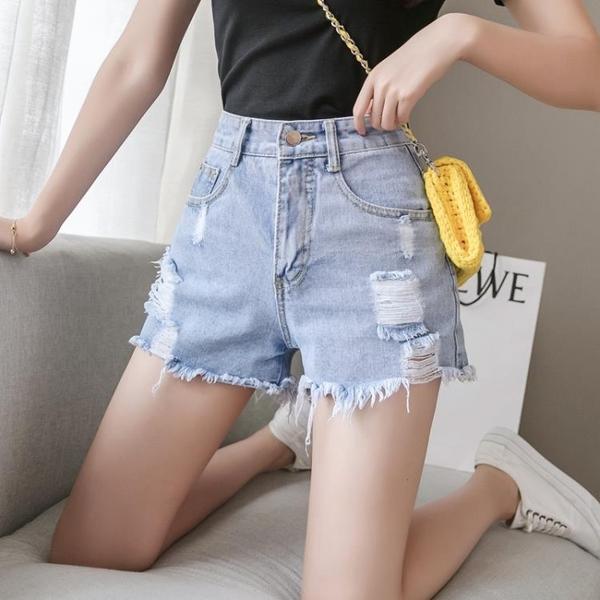牛仔短褲女年夏季薄款潮韓版淺色高腰顯瘦破洞寬鬆a字熱褲ins 元旦全館免運