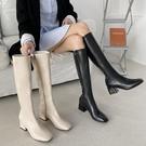 長筒騎士靴女潮ins2020秋冬新款方頭粗跟馬靴不過膝靴高筒瘦瘦靴 小山好物