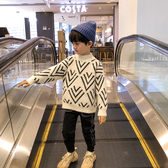 小男童秋冬裝加絨水貂絨針織衫2019新款洋氣兒童冬款套頭冬季毛衣
