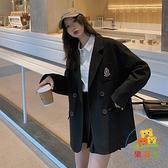 黑色小西裝外套女春秋韓版休閒寬鬆上衣小個子西服 樂淘淘