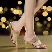 水鑽涼拖鞋 女中跟鑲鑽羅馬涼鞋【多多鞋包店】z2307