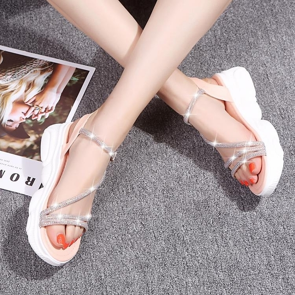 厚底涼鞋 2020夏季新款百搭學生鬆糕羅馬涼鞋水鑽小熊涼鞋
