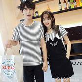 情侶裝夏裝新款韓版條紋短袖t恤背帶洋裝學生男女兩件套裝    蜜拉貝爾