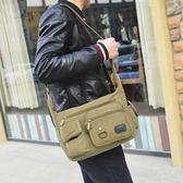 新款帆布包休閒男包側背包男士包包單肩包男式多功能側背背包  卡布奇諾