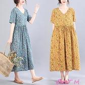 棉麻洋裝小碎花棉麻短袖連身裙夏季文藝復古寬鬆V領收腰系帶顯瘦大擺長裙 JUST M