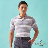 【Emilio Valentino】都會悠活層次橫條POLO衫 - 灰/白