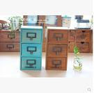復古實木收納盒儲物櫃首飾盒化妝盒三抽屜式收納櫃桌面整理