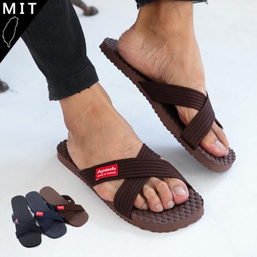 男款 MIT交叉織帶防水止滑 室外拖鞋 海灘拖鞋 防水拖鞋 咖啡色 59鞋廊