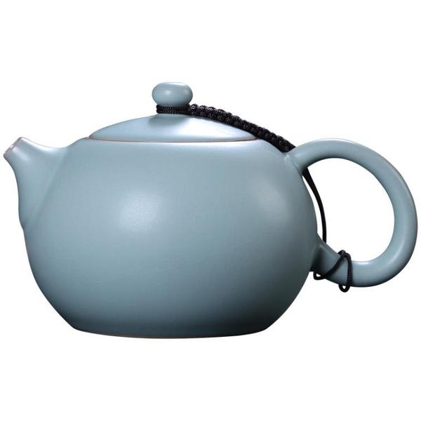 祥業汝窯茶壺手工開片可養陶瓷功夫茶具單壺石瓢壺家用汝瓷泡茶壺
