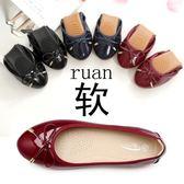 漆皮鞋 蛋卷瓢鞋紅色單鞋女平底圓頭仙女漆皮軟底豆豆溫柔    琉璃美衣