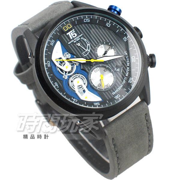T5 sports time 粗曠個性型男 三眼造型 男錶 計時碼錶 防水 皮革 手錶 日期視窗 兩地時間 H3629槍灰