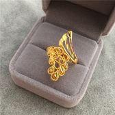 新款歐幣仿沙金指環鍍金氣質孔雀戒指女士結婚配飾品