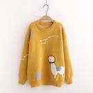 *ORead*卡通刺繡針織衫慵懶風套頭毛衣(4色f碼)