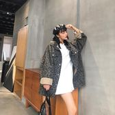 秋裝女2018新款韓版時尚大袖子中長款豹紋風衣外套春秋