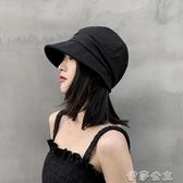 日繫薄款夏季棉麻帽子女韓版潮貝雷八角帽黑色畫家帽遮陽鴨舌帽女 伊莎gz