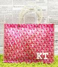 【震撼精品百貨】Hello Kitty 凱蒂貓~日本SANRIO三麗鷗KITTY塑膠袋/購物袋-滿版英文*97784