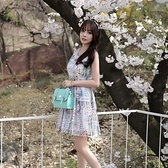 洋裝-無袖印花歐根紗拼接蕾絲女連身裙73nj37[巴黎精品]