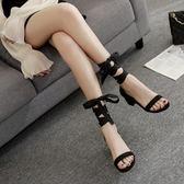 粗跟涼鞋 仙女風韓版一字扣帶中跟絲帶綁帶女涼鞋夏季粗跟高跟女鞋 宜室家居