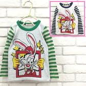 【韓版童裝】彈力條紋接袖兔子星星棉T-藍【BB160216012】