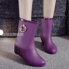 高跟雨鞋女新款韓國春夏秋冬女士短筒雨靴高跟水鞋防滑坡跟膠鞋休閒單雨鞋女 快速出貨