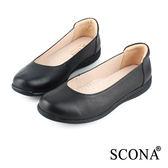 SCONA 全真皮 簡約百搭舒適娃娃鞋 黑色 22411-1