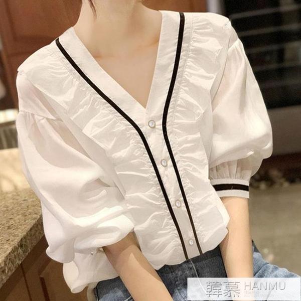 夏季白色雪紡襯衫女設計感小眾v領薄款泡泡短袖法式復古鎖骨上衣 夏季新品