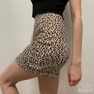 美式復古高腰顯瘦包臀裙緊身百搭彈力翹臀豹紋短裙性感 洛小仙女鞋