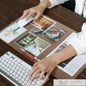 韓國簡約大羊毛氈防滑電腦辦公桌墊可收納鍵盤墊皮革滑鼠墊 夏季新品