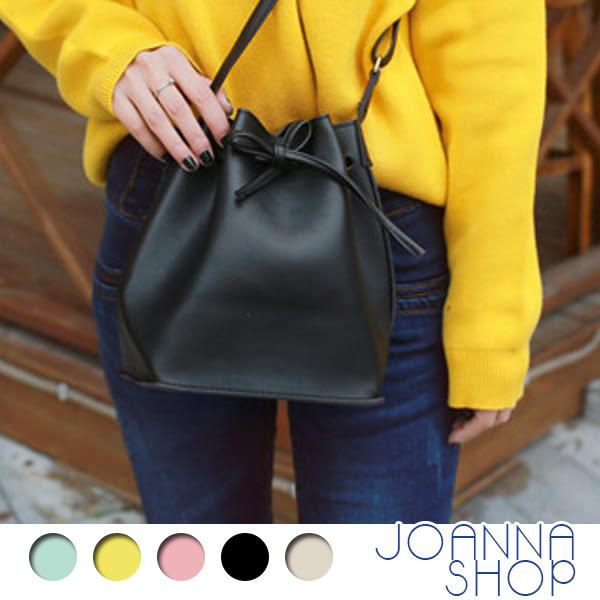 斜背包 簡單生活質感皮質水桶包-Joanna Shop