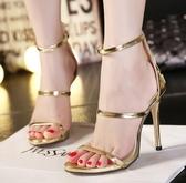 高跟涼鞋女 韓版女鞋子 露趾涼鞋女夏鏤空歐美明星款時尚性感高跟高跟鞋【多多鞋包店】ds3924