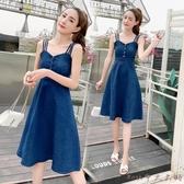 連衣裙牛仔吊帶深藍連衣裙2020夏季新潮款百搭修身大擺長裙子甜美XL3577【ROSE中大呎碼】