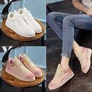 休閒鞋運動鞋平底鞋拼色學生韓版運動型板鞋內增厚底女鞋..兩色..流行線