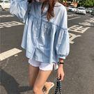 (全館一件免運)DE SHOP~(XA-5172)百搭單排釦泡泡袖7分袖襯衫